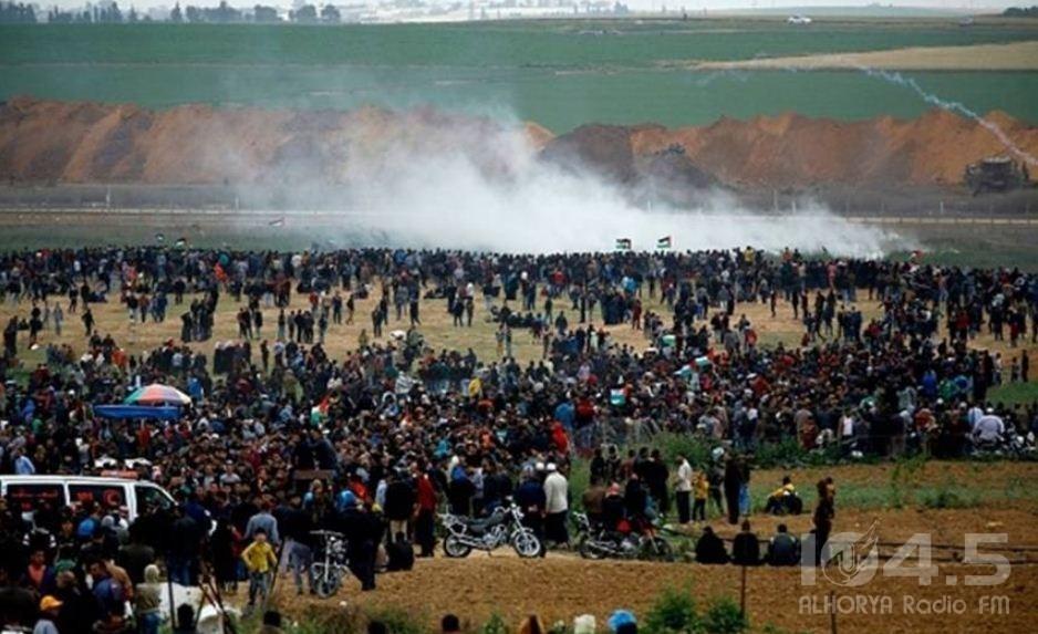 إصابات بقمع الاحتلال للجمعة الـ57 شرق قطاع غزة